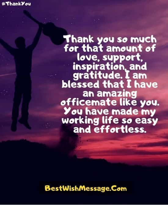 Thank You Message to Colleagues for Support