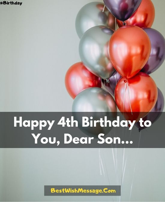 4th Birthday Wishes for Son