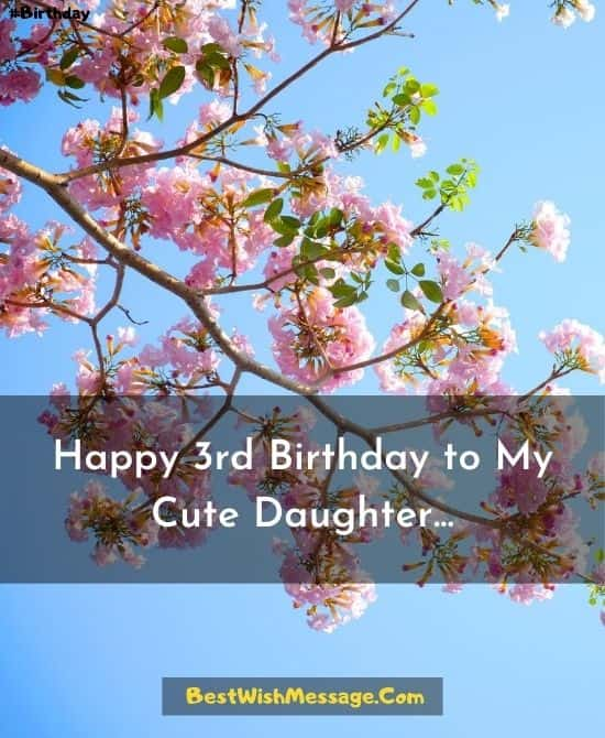 3rd Birthday Messages for Daughter