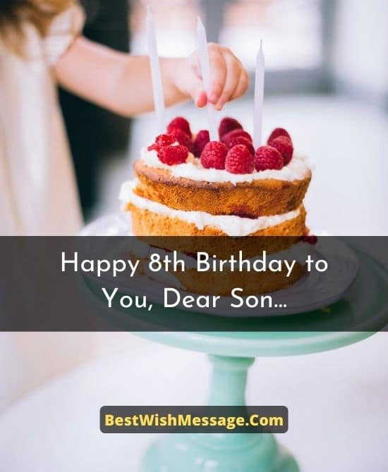 8th Birthday Wishes for Son