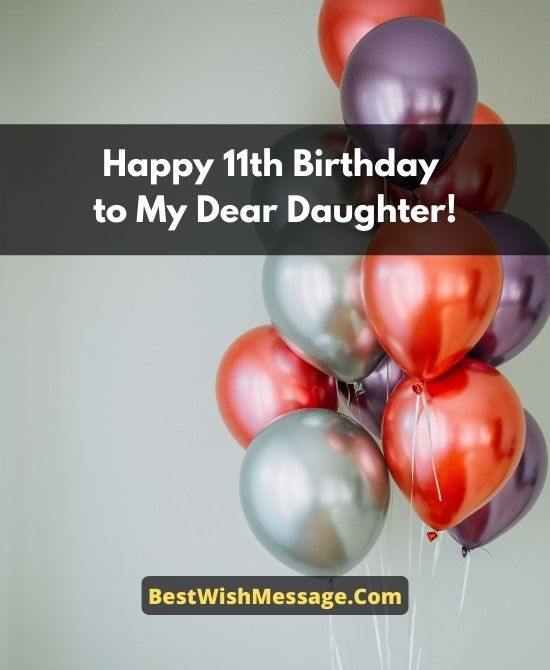 11th Birthday Wishes for Daughter from Parents